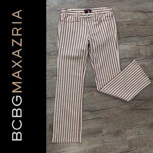 BCBGMAXAZRIA Cream & Red Striped Jeans